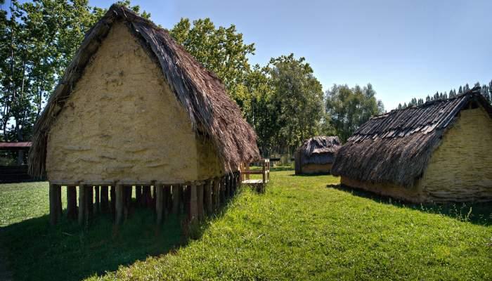 <p>La cabane sur&eacute;lev&eacute;e montre comment vivaient les habitants de la Draga (Arqueoxarxa, Josep Casanova)</p>