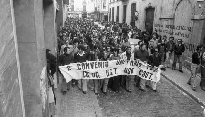 <p><strong>Manifestation du secteur textile &agrave; Matar&oacute;</strong></p> <p>1978</p> <p>Enric Quintana</p> <p>Archives Municipales de Matar&oacute; /Fonds d&rsquo;archives Quintana</p>