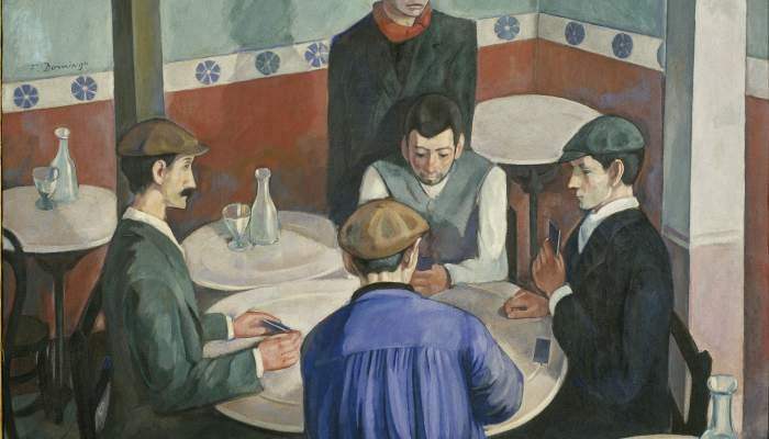 <p><strong>Francesc Domingo Segura</strong> (Barcelona, 1893 &ndash; Sao Paulo, Brasil, 1974)</p> <p><em>Els jugadors,</em> 1920</p> <p>Oli sobre tela</p> <p>MNAC - Museu Nacional d'Art de Catalunya, Barcelona</p>