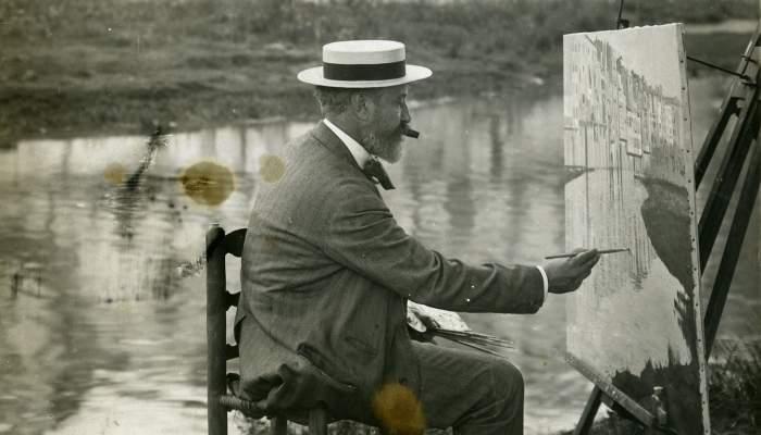 Santiago Rusiñol pintant a Girona