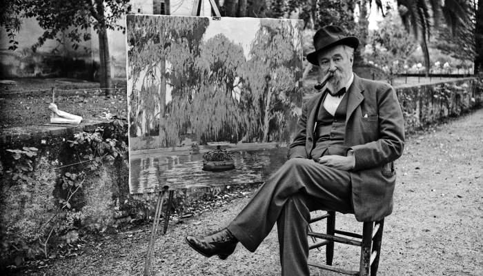 Santiago Rusiñol pintant als Jardins de La Granja Vella a Horta