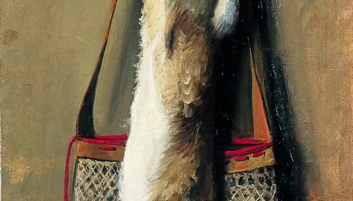 <p>Inv.: 3740. Josep Casanovas Clerch, <em>Conill i bossa de ca&ccedil;a</em>, s.d. , oli s. tela, 95x51&rsquo;5 cm.</p>