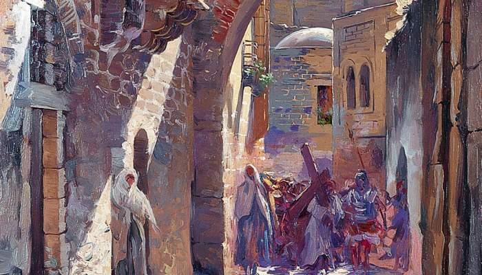 <p>Inv.: 320. Antoni Estruch Bros, <em>Via dolorosa, Jerusalen</em>, 1907. Oli s. tela, 36x27 cm.</p>