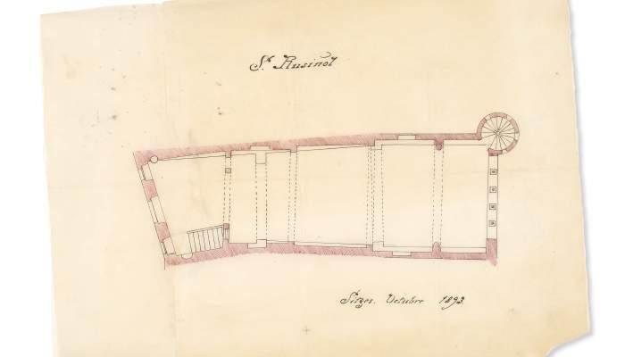 <p>rancesc Rogent i Pedrosa (Barcelona, 1864-1898)</p> <p>Pl&agrave;nol del Cau Ferrat. Sitges, octubre de 1893</p> <p>Tinta sobre paper vegetal</p> <p>Museu del Cau Ferrat, Sitges. Adquisici&oacute; del Consorci del Patrimoni de Sitges, 2013</p>