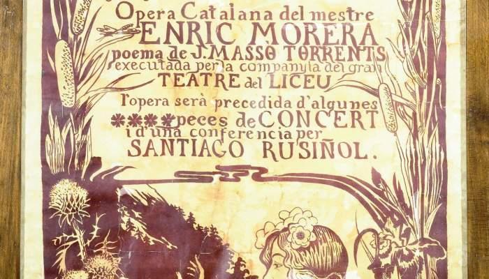 <p><strong>Miquel Utrillo i Morlius (Barcelona, 1862 &ndash; Sitges, 1934)</strong></p> <p>Cartell de l'&ograve;pera <em>La fada,</em> amb m&uacute;sica d&rsquo;Enric Morera i poemes de Jaume Mass&oacute;, 1897</p> <p>Museu del Cau Ferrat, Sitges</p>