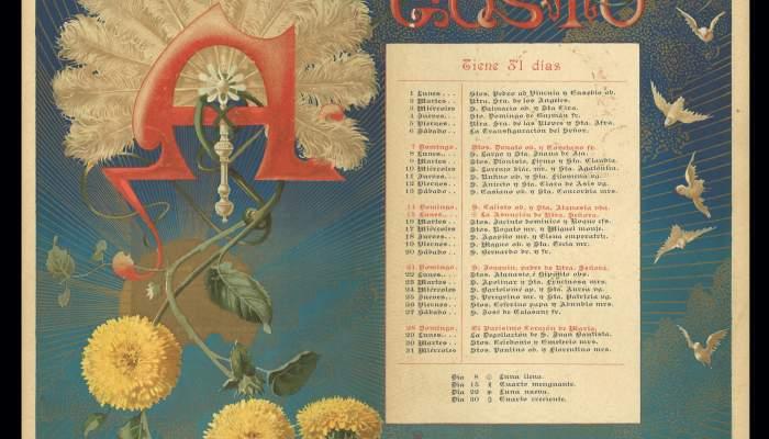 Agosto. Calendario para el año 1892