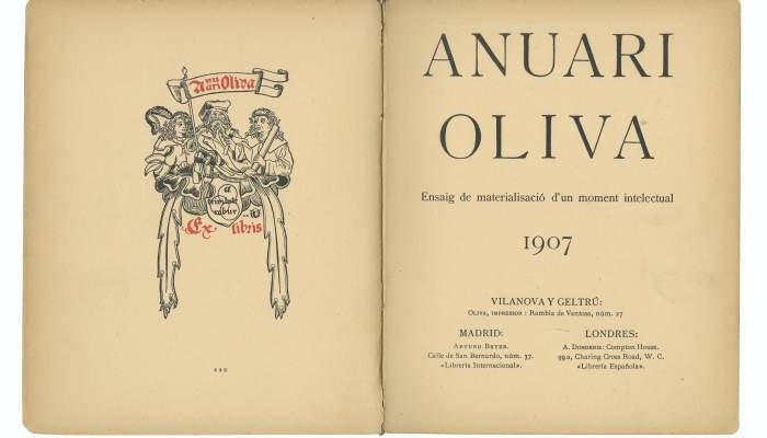 Exlibris universal y portada del Anuari Oliva