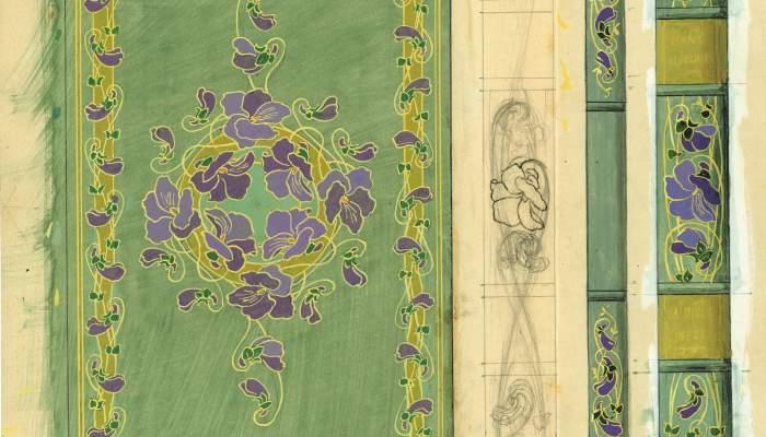Proyectos y dibujos preparatorios para encuadernaciones con motivos florales