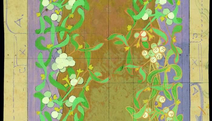 Projectes i dibuixos preparatoris per a enquadernacions amb motius florals.