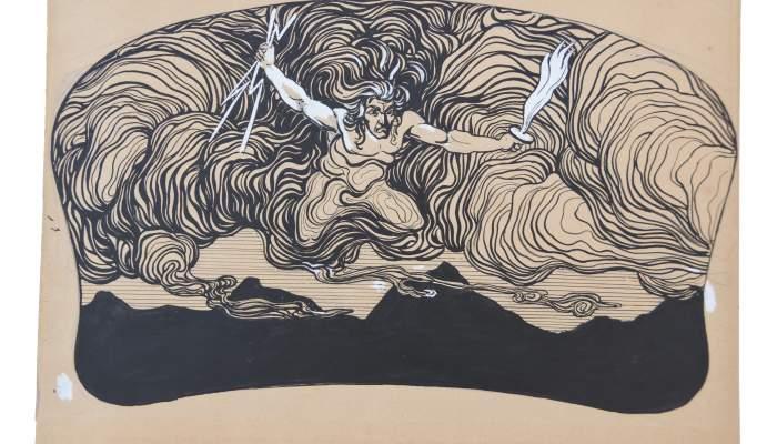 Personatge èpic sobrevolant unes muntanyes i sostenint una espasa i rajos
