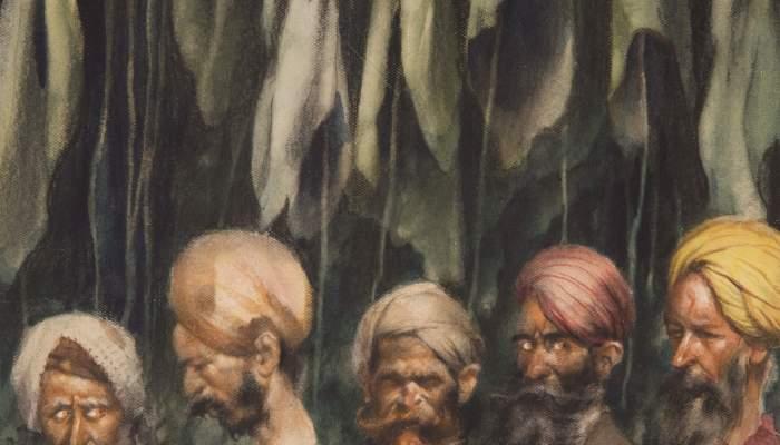Cinc lladres entrant a la cova (Les mil i una nits)