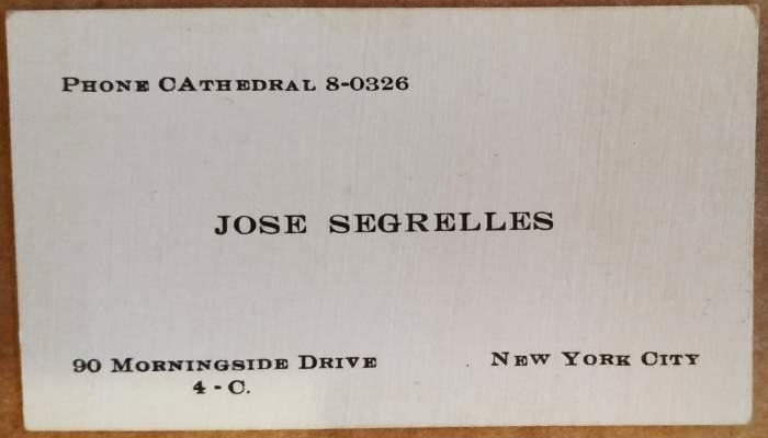 Targeta de visita de l'estudi de José Segrelles al 90 Morningside Drive, núm. 4-C