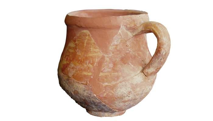 <p><em>Small globular, locally-produced jug coated with a layer of slip. </em></p>