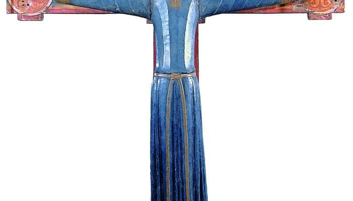 <em>Crist en majestat</em>, Segle XII. Talla de fusta policromada 103 x 106 x 11,2 cm. Monestir de Sant Miquel de Cru&iuml;lles. Museu d&#39;Art de Girona - Fons Bisbat de Girona.