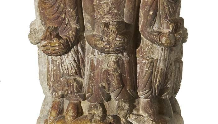 <em>Capitell</em>, segle XII. Pedra calc&agrave;ria amb restes de policromia, 38 x 25 x 25 cm. Monestir de Sant Pere, Camprodon. Museu d&#39;Art de Girona - Fons Bisbat de Girona.