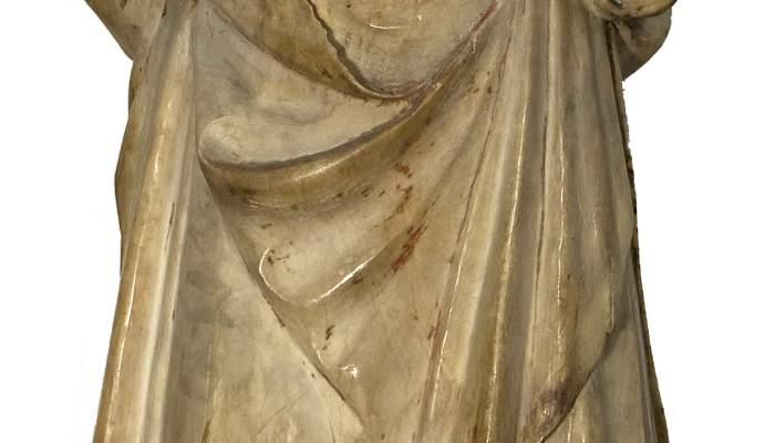 <em>Santa Coloma,</em> posterior a 1340. Alabastre policromat, 123 x 42 x 36 cm. Esgl&eacute;sia de Santa Coloma, Siurana. Museu d&#39;Art de Girona - Fons Bisbat de Girona.