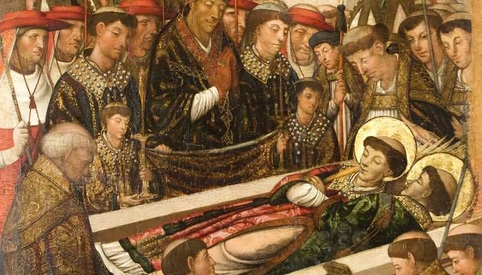 <em>Retaule de sant Esteve.</em> Primera meitat del segle XVI. Oli sobre fusta, 150 x 91 cm. Esgl&eacute;sia de Sant Esteve d&#39;en Bas. Museu d&#39;Art de Girona - Fons d&#39;Art Diputaci&oacute; de Girona.