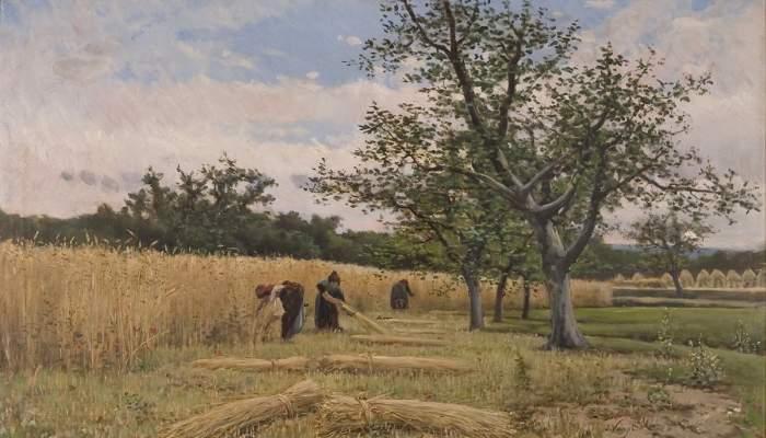 <p><em>La siega,</em>&nbsp;Joaquim Vayreda i Vila, hacia 1881. &Oacute;leo sobre tela, 70 x 120 cm. Museo de Arte de Girona - Fondo de Arte Diputaci&oacute;n de Girona.</p>